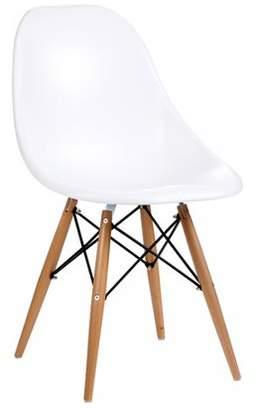 ABS by Allen Schwartz Roundhill Furniture Citytalk Dining Chairs with Steamed Birch Wood Legs, White, Set of 2