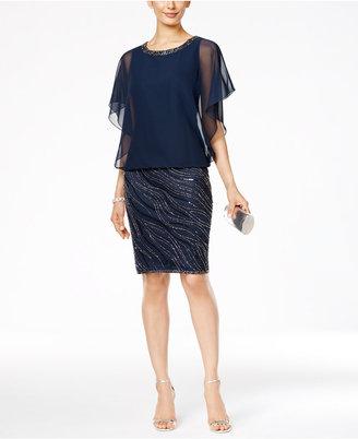 J Kara Beaded Chiffon Blouson Dress $239 thestylecure.com