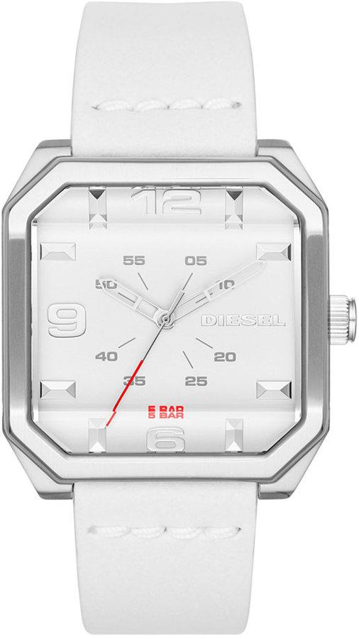 DieselDiesel Men's Flat Top White Leather Strap Watch 42x47mm DZ1823
