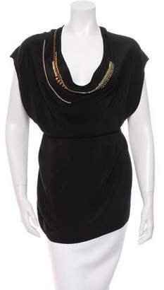 Megan Park Silk Bead-Trimmed Top w/ Tags