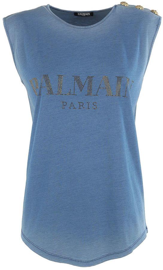 BalmainBalmain Logo-print Jersey Tank Top