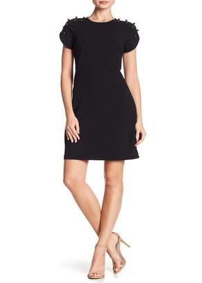 Betsey Johnson Mock Pearl Detailed Short Sleeve Scuba Dress