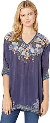 Johnny Was Women's 3/4 Sleeve V-Neck Embroidered Tunic