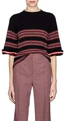 Fendi Women's Fur-Trimmed Striped Rib-Knit Wool-Blend Top
