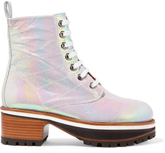 Sies Marjan Jessa Lace-up Iridescent Coated-leather Ankle Boots