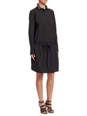 Brunello Cucinelli Lurex Collar Cotton Shirtdress