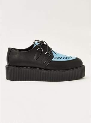 Topman Mens Black and Blue Wedge Platform Shoes