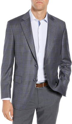 Peter Millar Classic Fit Grey Plaid Sport Coat