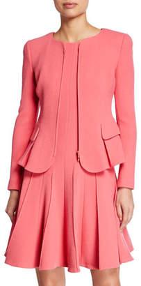 Emporio Armani Collarless Wool Crepe Peplum Jacket