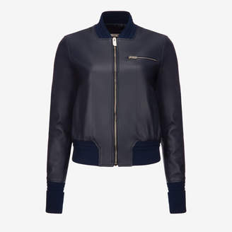 Bally Leather Bomber Jacket Blue, Women's leather blouson in ink