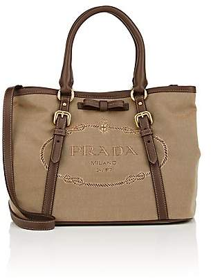 Prada WOMEN'S LADY LEATHER-TRIMMED CANVAS BAG