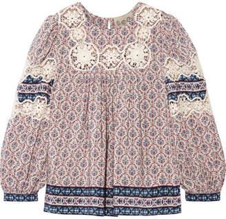 SEA - Clara Crochet-trimmed Printed Silk Crepe De Chine Blouse - Blue $325 thestylecure.com