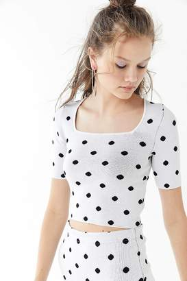 Urban Outfitters Polka Dot Square-Neck Cropped Top