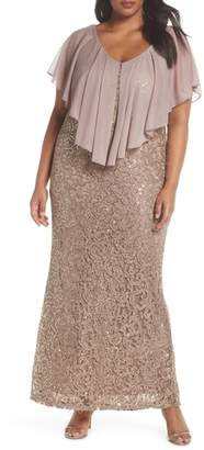 Marina Capelet Sequin Lace A-Line Gown