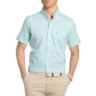 Izod Advantage Woven Short Sleeve Checked Button-Front Shirt-Big and Tall