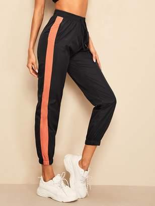Shein Contrast Side Elastic Hem Crop Wind Pants