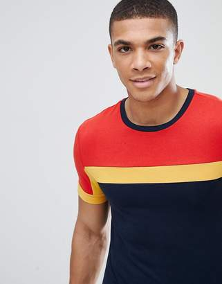 Asos DESIGN muscle fit t-shirt with color block in navy