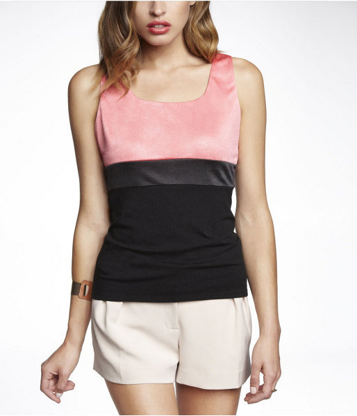 Express Color Block Hammered Jersey Shell Top