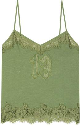 Rihanna Fenty By Lace-trimmed cotton camisole