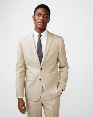 Express Slim Khaki Wool-Linen Blend Suit Jacket