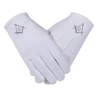 Gloves4Masons Freemasons Masonic Gloves in Cotton in Silver Embroidered Square Compass and G SC&G