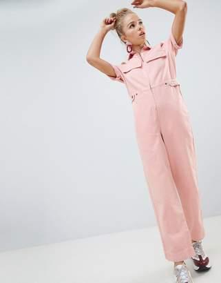 Asos Design DESIGN denim boilersuit in pale pink