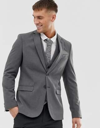 New Look Slim Suit Jacket In Gray
