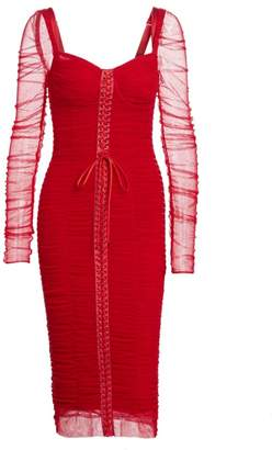 Dolce & Gabbana Ruched Tulle Long Sleeve Lace-Up Dress