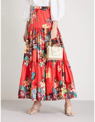 Alexis Gauri floral-print cotton maxi skirt