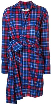MSGM waist-tied check shirt dress