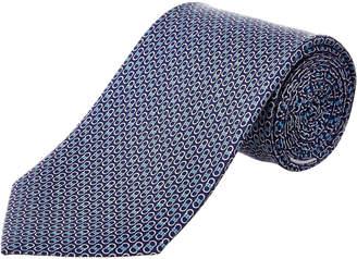 Salvatore Ferragamo Blue Gancio Silk Tie