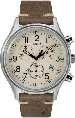 Timex R) MK1 Chronograph Leather Strap Watch, 42mm