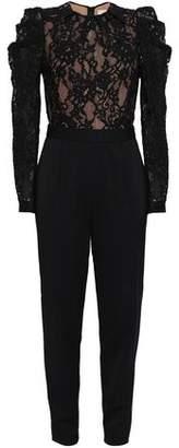 MICHAEL Michael Kors Paneled Cotton-Blend Lace And Crepe Jumpsuit