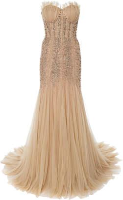 Jenny Packham Sequined Ruffle-Embellished Dress Size: 6