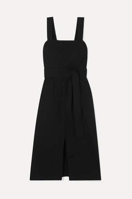 Vince Belted Linen-blend Midi Dress - Black