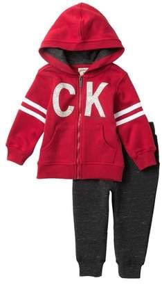 Calvin Klein Zip Front Fleece Hoodie & Fleece Jogger Set (Baby Boys)