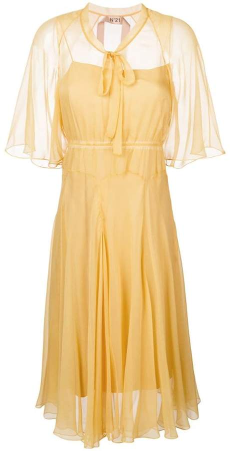 pussy bow fluid dress