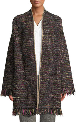 Etro Shimmered Tweed Open-Front Jacket