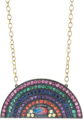 Andrea Fohrman Large Rainbow Necklace with Australian Opal Center
