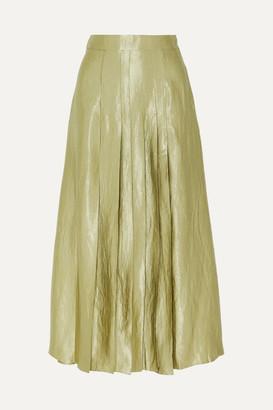 ANNA QUAN - Sable Pleated Crinkled-satin Midi Skirt - Gray green