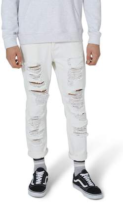 Topman Extreme Ripped Tapered Fit Jeans