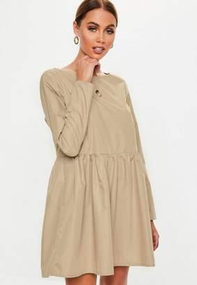 Missguided Stone Long Sleeve Smock Dress