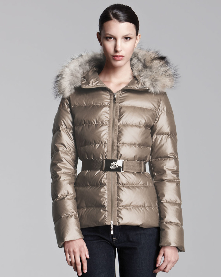 Moncler Fur-Hooded Metallic Belted Puffer Jacket