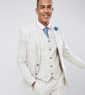 Gianni Feraud TALL Skinny Fit Wedding Windowpane Check Suit Jacket