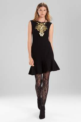 Natori Josie Knit Crepe Ruffle Hem Dress