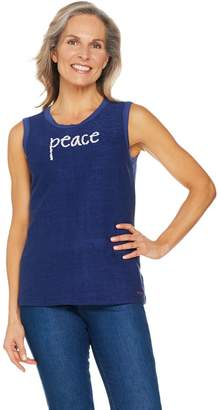 Peace Love World Keyhole Back Affirmation Knit Tank