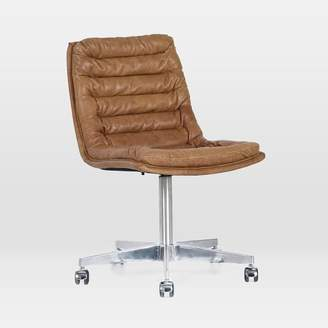 west elm Leather Upholstered Swivel Desk Chair - Pampus Nut
