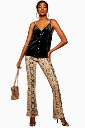 Topshop Petite Snake Flared Trousers