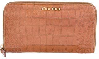 Miu MiuMiu Miu Embossed Leather Wallet