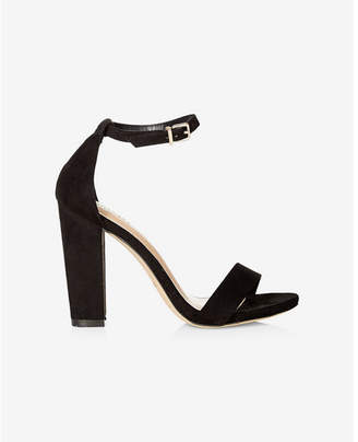 Express faux suede thick heeled sandal $69.90 thestylecure.com